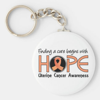 Cure Begins With Hope 5 Uterine Cancer Keychain