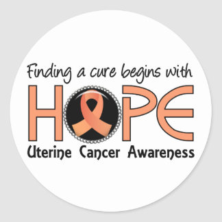 Cure Begins With Hope 5 Uterine Cancer Round Stickers