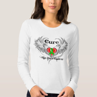 Cure Bile Duct Cancer Heart Tattoo Wings T-shirts