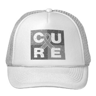 CURE Brain Cancer Distressed Cube Mesh Hats