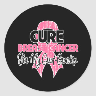 Cure Breast Cancer For My Great-Grandma Round Stickers