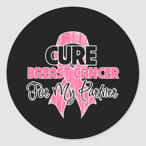Cure Breast Cancer For My Partner Round Stickers