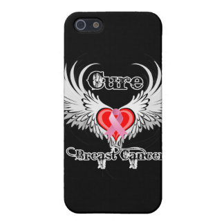 Cure Breast Cancer Heart Tattoo Wings Cases For iPhone 5