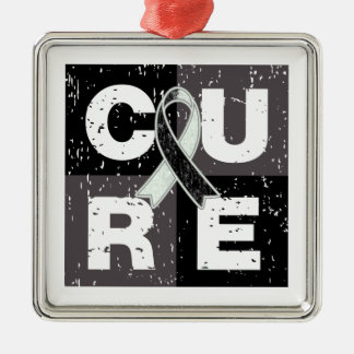 CURE Carcinoid Cancer Distressed Cube Silver-Colored Square Decoration