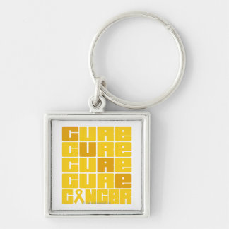 CURE Childhood Cancer Collage Silver-Colored Square Key Ring