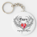 Cure Head Neck Cancer Heart Tattoo Wings Keychains
