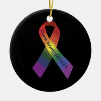 Cure Homophobia Circle Pendant Ornament