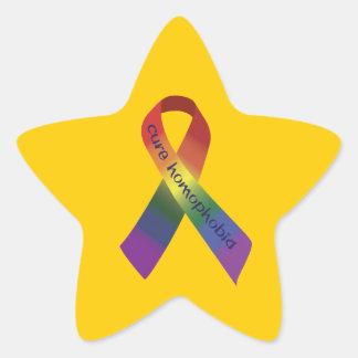 Cure Homophobia Ribbon Star Sticker