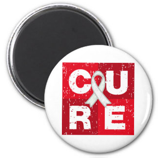 CURE Lung Cancer Distressed Cube Magnet
