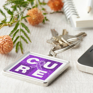 CURE Lupus Distressed Cube Keychains