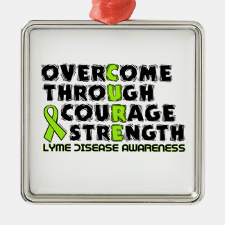 CURE...Lyme Silver-Colored Square Decoration
