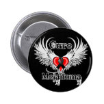 Cure Melanoma Heart Tattoo Wings 6 Cm Round Badge