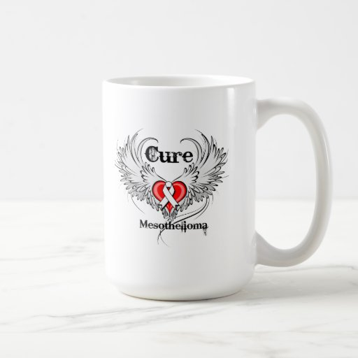 Cure Mesothelioma Heart Tattoo Wings Mugs