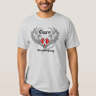 Cure Mesothelioma Heart Tattoo Wings Tee Shirt