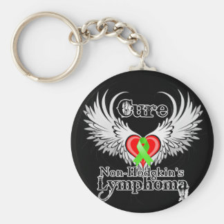 Cure Non-Hodgkins Lymphoma Heart Tattoo Wings Basic Round Button Key Ring