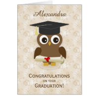 Cure owl, mortar, diploma Graduation Note Card