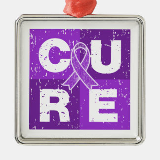CURE Pancreatic Cancer Distressed Cube Silver-Colored Square Decoration