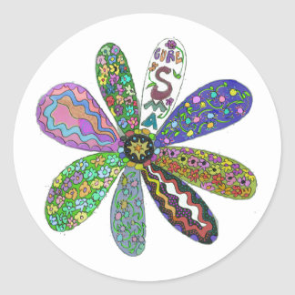 Cure SMA Flower Power Classic Round Sticker