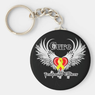 Cure Testicular Cancer Heart Tattoo Wings Basic Round Button Key Ring