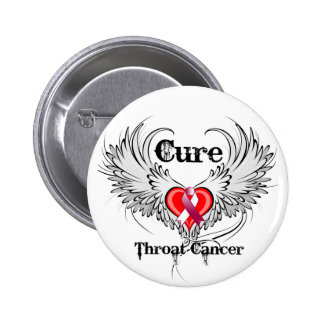 Cure Throat Cancer Heart Tattoo Wings 6 Cm Round Badge