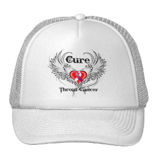 Cure Throat Cancer Heart Tattoo Wings Mesh Hats