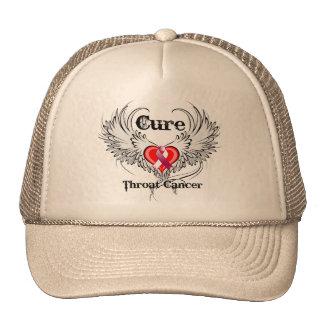 Cure Throat Cancer Heart Tattoo Wings Trucker Hat