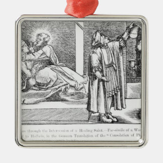 Cure through the Intercession of a Healing Silver-Colored Square Decoration