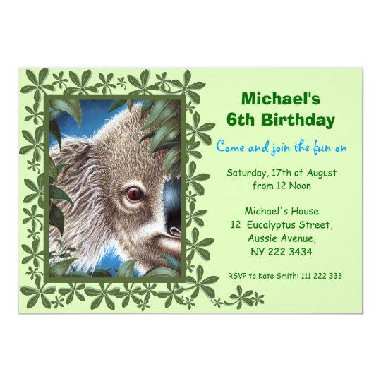 Curios Koala Kids Birthday Party Invitation