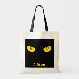 Curiosity cat eyes stare Halloween trick or treat Tote Bags
