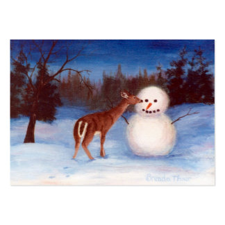 Curiosity Deer and Snowman Art Card Pack Of Chubby Business Cards