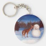Curiosity Deer and Snowman Keychain