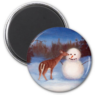 Curiosity Deer and Snowman Magnet