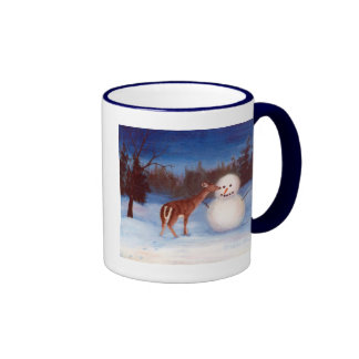 Curiosity Deer and Snowman Mug