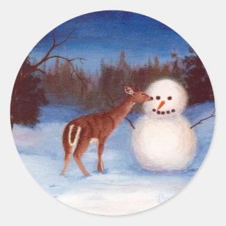 Curiosity Deer and Snowman Sticker