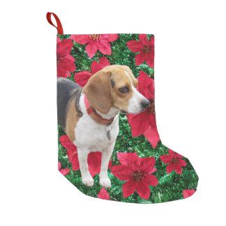 Curious Beagle Poinsettias Christmas Stocking