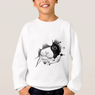 Curious Black and White Kitty Cat Sweatshirt