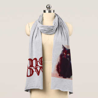 Curious Black Cat Meow jersey scarf