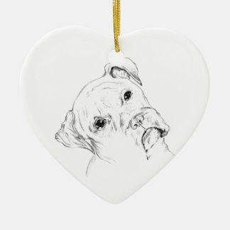 Curious Boxer Pup Ceramic Heart Decoration