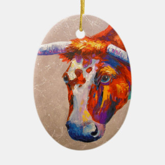 Curious bull ceramic oval decoration