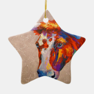 Curious bull ceramic star decoration