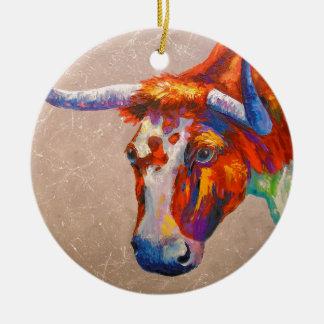 Curious bull round ceramic decoration