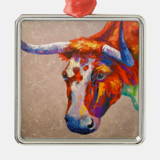 Curious bull Silver-Colored square decoration
