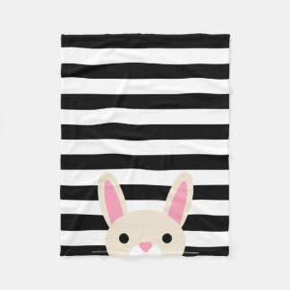 Curious Bunny | Stripes | Black & White Fleece Blanket