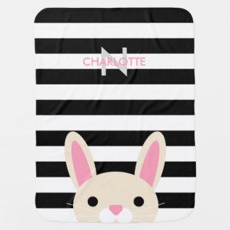 Curious Bunny | Stripes | Monogram Baby Blanket