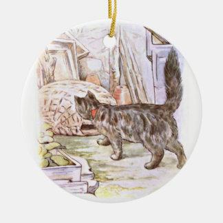 Curious Cat Artwork Round Ceramic Decoration