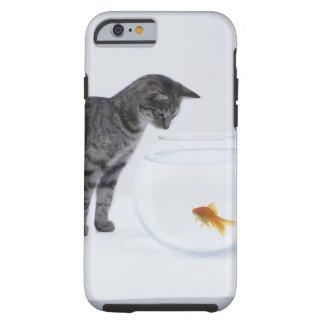 Curious cat watching goldfish in fishbowl tough iPhone 6 case