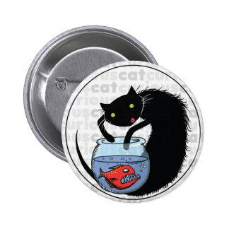Curious Cat with Piranha 6 Cm Round Badge