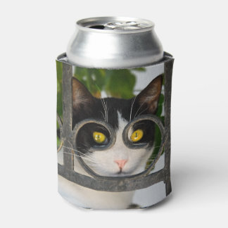 Curious Cat with Spectacles Frame - Funny Bawdle Can Cooler