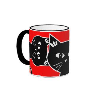 Curious Cats Keep an Eye on You! Ringer Mug