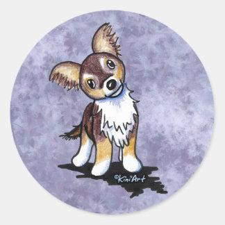 Curious Chihuahua Caricature Round Sticker